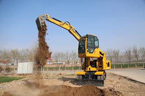 山鼎90輪式挖掘機帶升降駕駛室